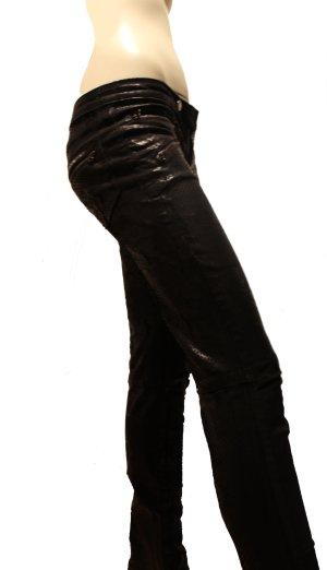 Pierre Balmain, Jeans, F40, Denim mit lässigen Kunstleder-Applikationen, schwarz