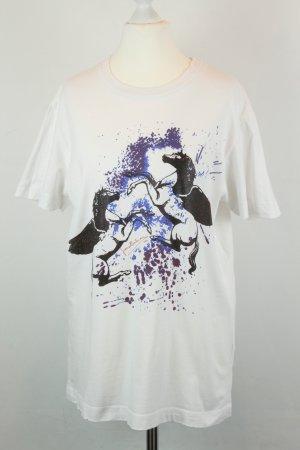 Pierre Balmain Shirt T-Shirt Gr. XS weiß blau Pferde oversized