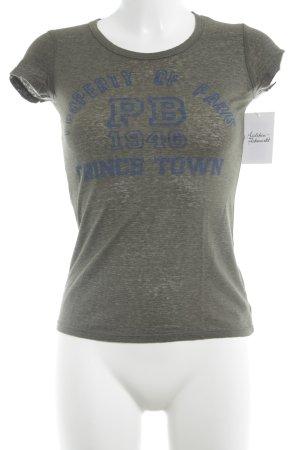 Pierre Balmain T-Shirt khaki-dunkelblau abstrakter Druck Casual-Look