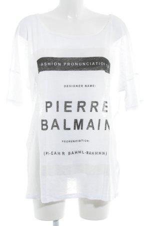 Pierre Balmain T-Shirt weiß-schwarz Motivdruck Casual-Look