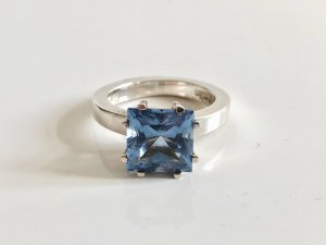 Pierre Cardin Edelstein Ring Silber 925 Silber Ring Silberring Kronenring Edelstein blau