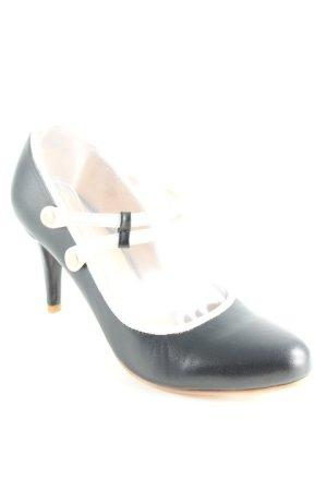Pierre Cardin Riemchenpumps weiß-schwarz Elegant