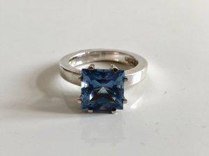 Pierre Cardin Silber Ring Silberring Kronenring Edelstein blau