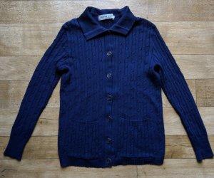 Pierre Cardin Strickjacke dunkelblau Merino Cable Knit