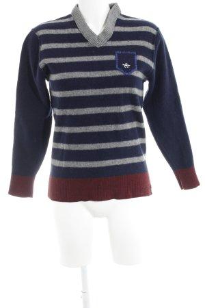 Pierre Cardin V-Ausschnitt-Pullover dunkelblau-grau Streifenmuster