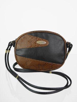Crossbody bag brown-black imitation leather