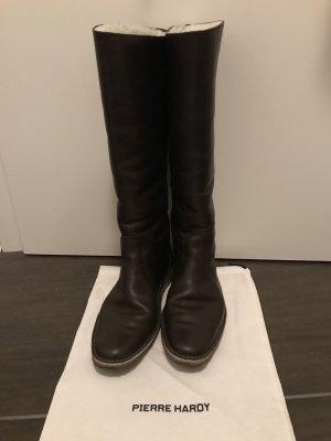 Pierre Hardy Designer Stiefel mit Lammfell braun 39 Echtleder