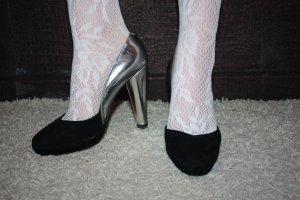 Pierre Hardy Plateau High Heels 36 Leder silber schwarz Neu