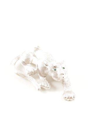 Pierre Lang Brosche silberfarben-waldgrün Animalmuster Elegant