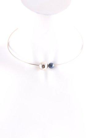 Pierre Lang Halskette silberfarben-dunkelblau klassischer Stil