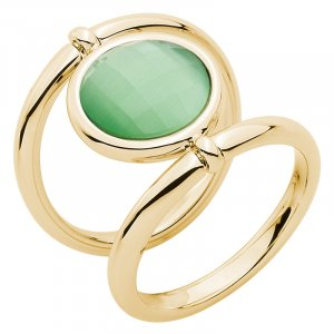"""Pierre Lang Ring """"Power & Love"""" in Gold mit grünem Stein Neu OVP Gr. 7"""