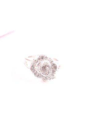 Pierre Lang Bague incrustée de pierres argenté motif de fleur style romantique