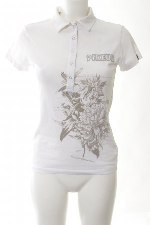 Pikeur Polo-Shirt weiß Blumenmuster Casual-Look