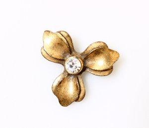 Pilgrim Brosche Blume Blüte geblümt gold metallic Strass neuwertig! boho vintage wie noa