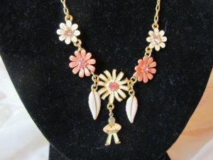 PILGRIM: Kette mit Emailleblüten und Straßsteinen, wie neu
