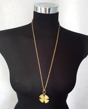 PILGRIM Lange Kette Halskette goldfarben Kleeblatt Neuwertig