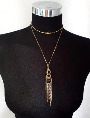 PILGRIM Lange Kette Halskette goldfarben mit schwarzen Steinen Neuwertig