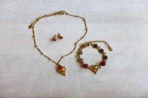 Pilgrim Schmuck Set Kette Armband Ohrringe Herz Hirsch gold Dirndl Oktobefest Wiesn neu