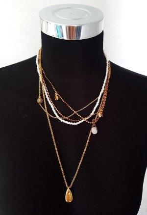 Pilgrim Statement Collier mehrreihig Gold- Bronze- Farben und Perlen