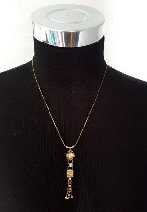 Pilgrim Vintage Kette Halskette Bronzefarben mit weißen Steinen Neuwertig