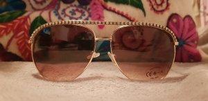 Piloten Sonnenbrille Pilotenbrille Fliegerbrille mit Strass - Goldbraun - VB