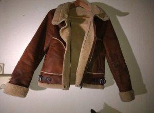 Zara Flight Jacket brown-oatmeal suede