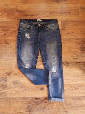 Pimkie Boyfriend Straight Leg Destroyed Ripped Jeans blau Gr. 36