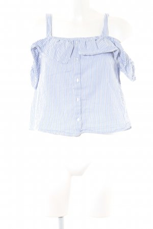 Pimkie Carmen-Bluse weiß-himmelblau Streifenmuster Romantik-Look