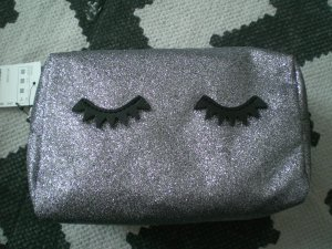 Pimkie Kosmetiktasche Etui Silber Glitter Wimpern Eyes Make Up NEU!