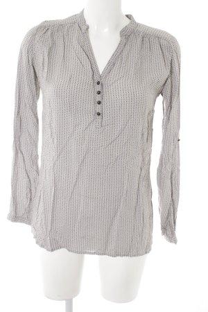 Pimkie Langarm-Bluse creme-blassblau Punktemuster Street-Fashion-Look
