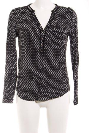 Pimkie Langarm-Bluse schwarz-weiß Allover-Druck Casual-Look