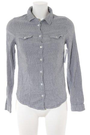 Pimkie Langarmhemd weiß-dunkelgrau Streifenmuster