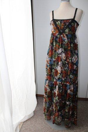 Pimkie Maxikleid Gr. 32/34 XS Rosen schwarz braun Sommerkleid Kleid lang bunt