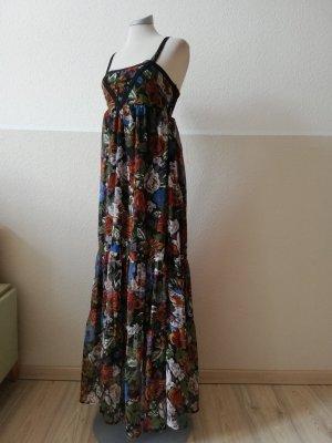 Pimkie Maxikleid Kleid lang Chiffon Gr. 32 34 XS Rosen schwarz bunt  Sommerkleid