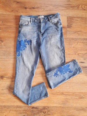 Pimkie Mid Waist Skinny Embroidery Denim Jeans blau Gr. 36