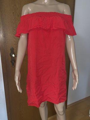 Pimkie Off-Shoulder schulterfreies Carmen Kleid Rot Sommerkleid Strandkleid