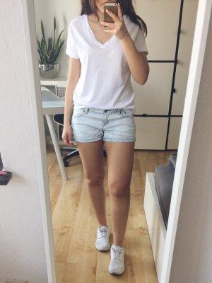 PIMKIE Shorts Jeans Jeansshort Hotpants gestreift blau weiß creme Gr. 36