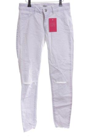 Pimkie Skinny Jeans weiß Used-Optik