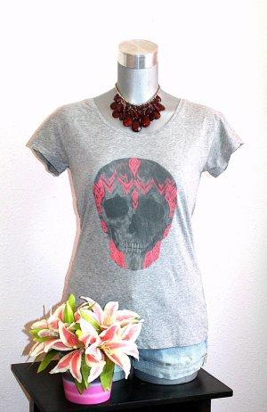 Pimkie Skull Shirt gr.38/40 Tshirt Pink Grau