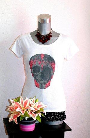 Pimkie Skull Shirt gr.38/40 Tshirt Pink Grau Weiß