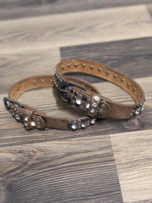 Cinturón de pinchos marrón Cuero