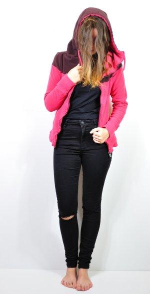 Pink Braune Fleecejacke