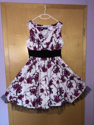 Pink Floral Dress Kleid Petticoat Rockabilly H&R London Größe 40