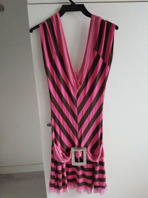 pink gestreiftes Kleid mit Spitze