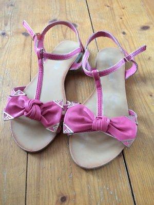 Pink-goldene Sandalen mit Schleife 36