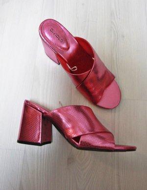 PINK METALLIC Mules Sommer Schuhe Sandalen