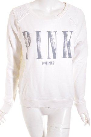 Pink Rundhalspullover wollweiß platzierter Druck Casual-Look