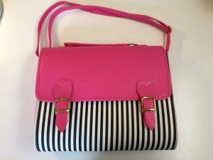 Pink / Schwarz, Weiß gestreifte Tasche im Schultaschen Look