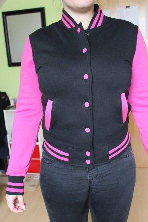 pink-schwarze Collegejacke