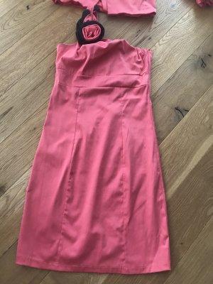 Pink schwarzes Kostüm Zweiteiler Oneshoulder Kleid und Blazer Italy
